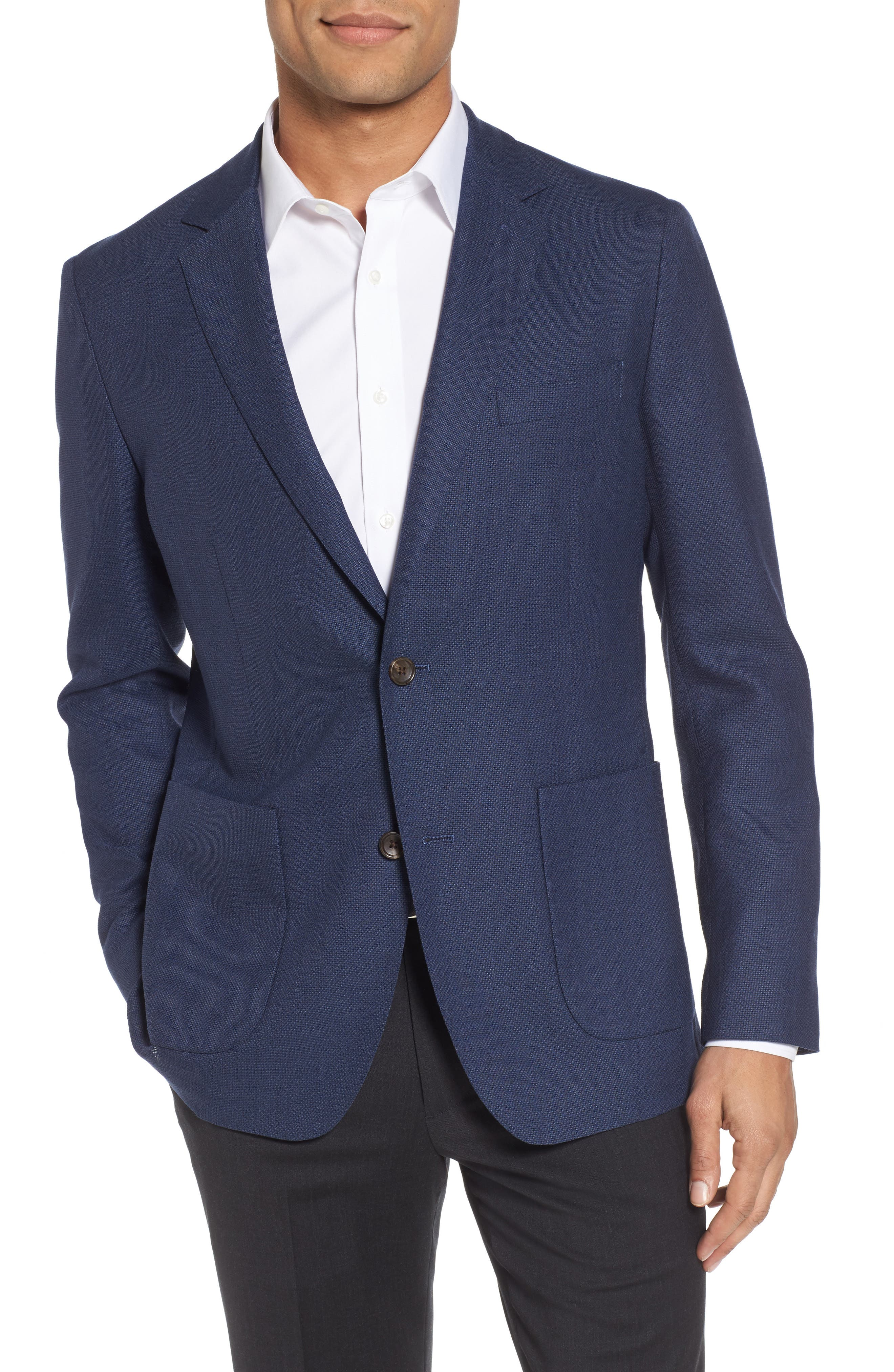 Slim Fit Wool Unconstructed Sport Coat, Main, color, BLUE