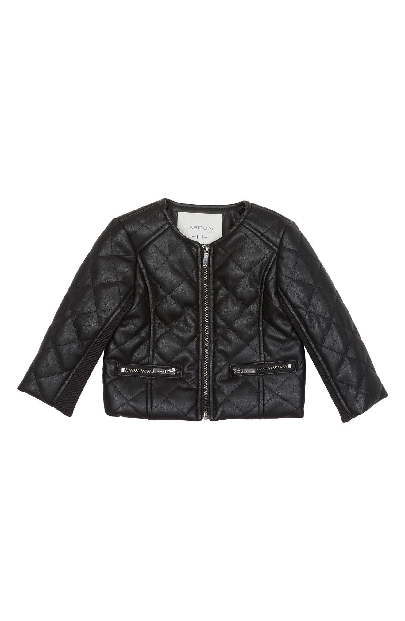 Image of Habitual Jade Faux Leather Quilted Jacket