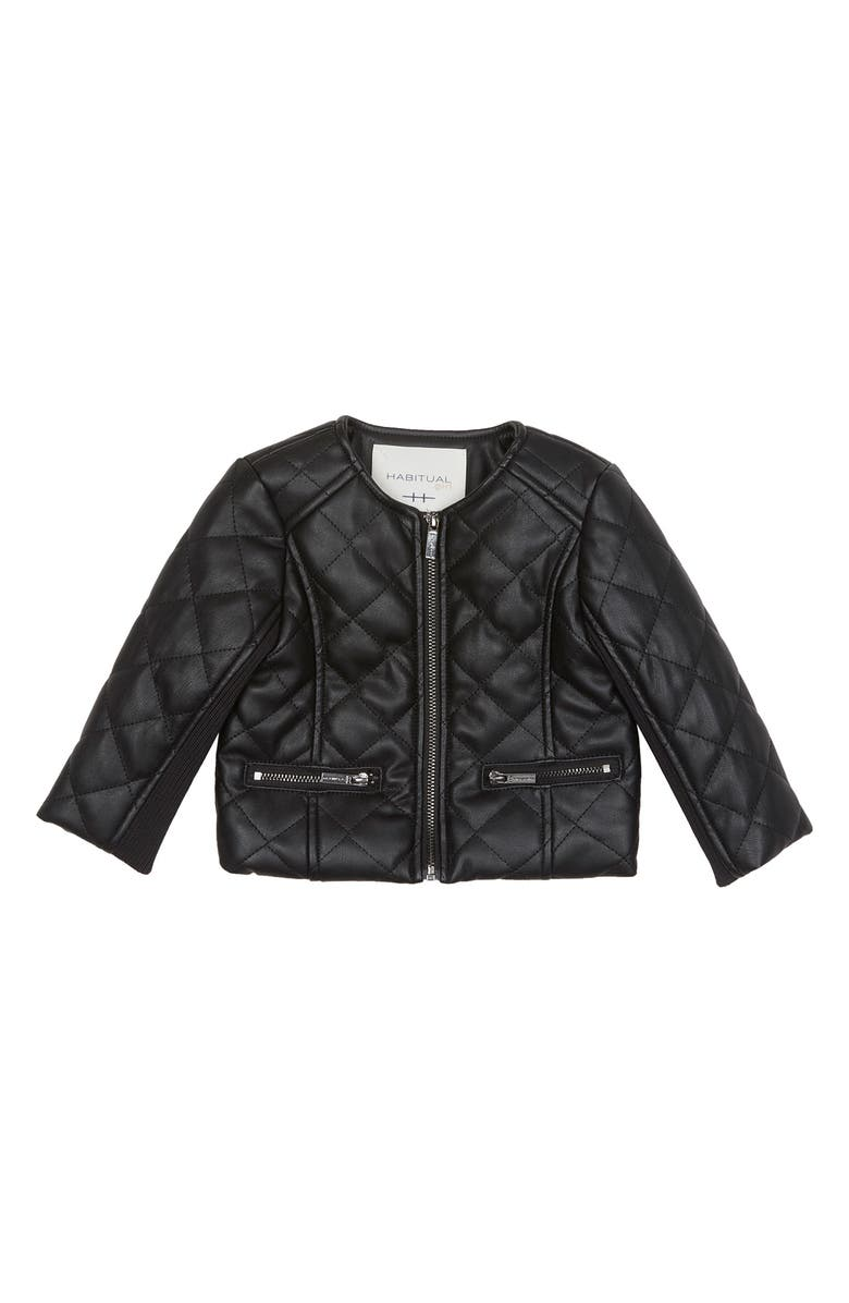 HABITUAL Jade Faux Leather Quilted Jacket, Main, color, BLACK
