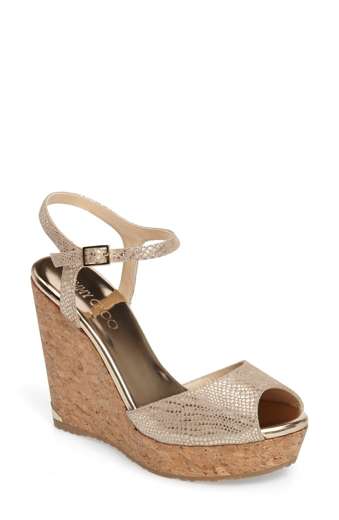 Jimmy Choo Perla Cork Wedge Sandal