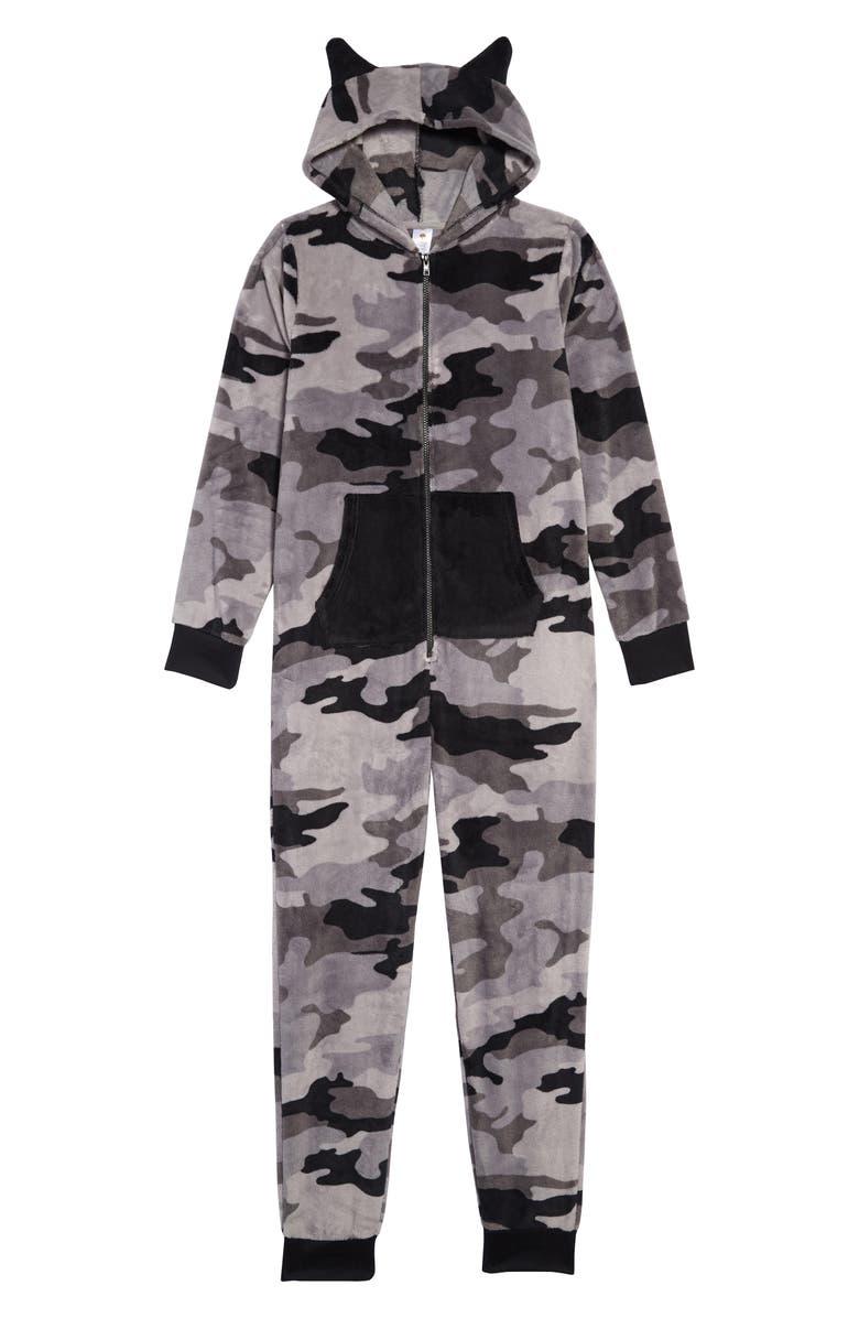 TUCKER + TATE Camo Dog One-Piece Pajamas, Main, color, BLACK- GREY CAMO