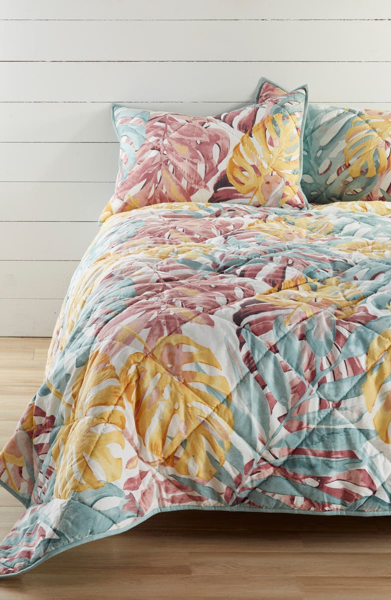 NORDSTROM AT HOME Paradise Leaf Print Quilt, Main, color, PINK PARADISE MULTI