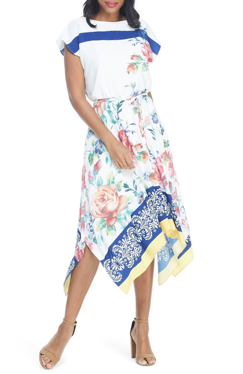MAGGY LONDON Floral Border Print Handkerchief Hem Midi Dress, Main, color, SOFT WHITE/ MAROON