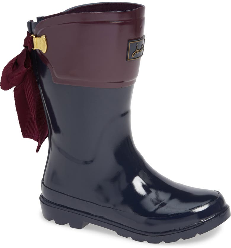JOULES Bow Welly Waterproof Rain Boot, Main, color, 410