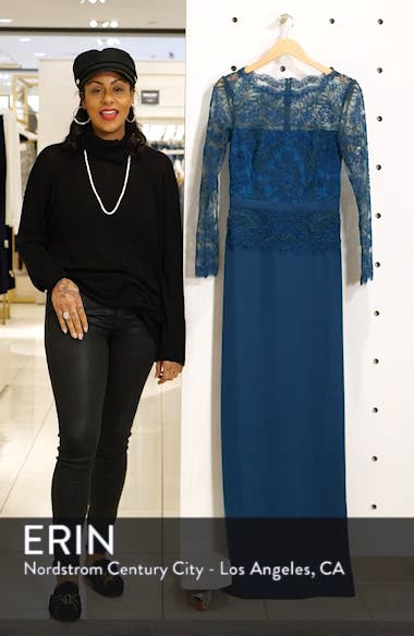 Lace & Crepe Long Sleeve Evening Gown, sales video thumbnail