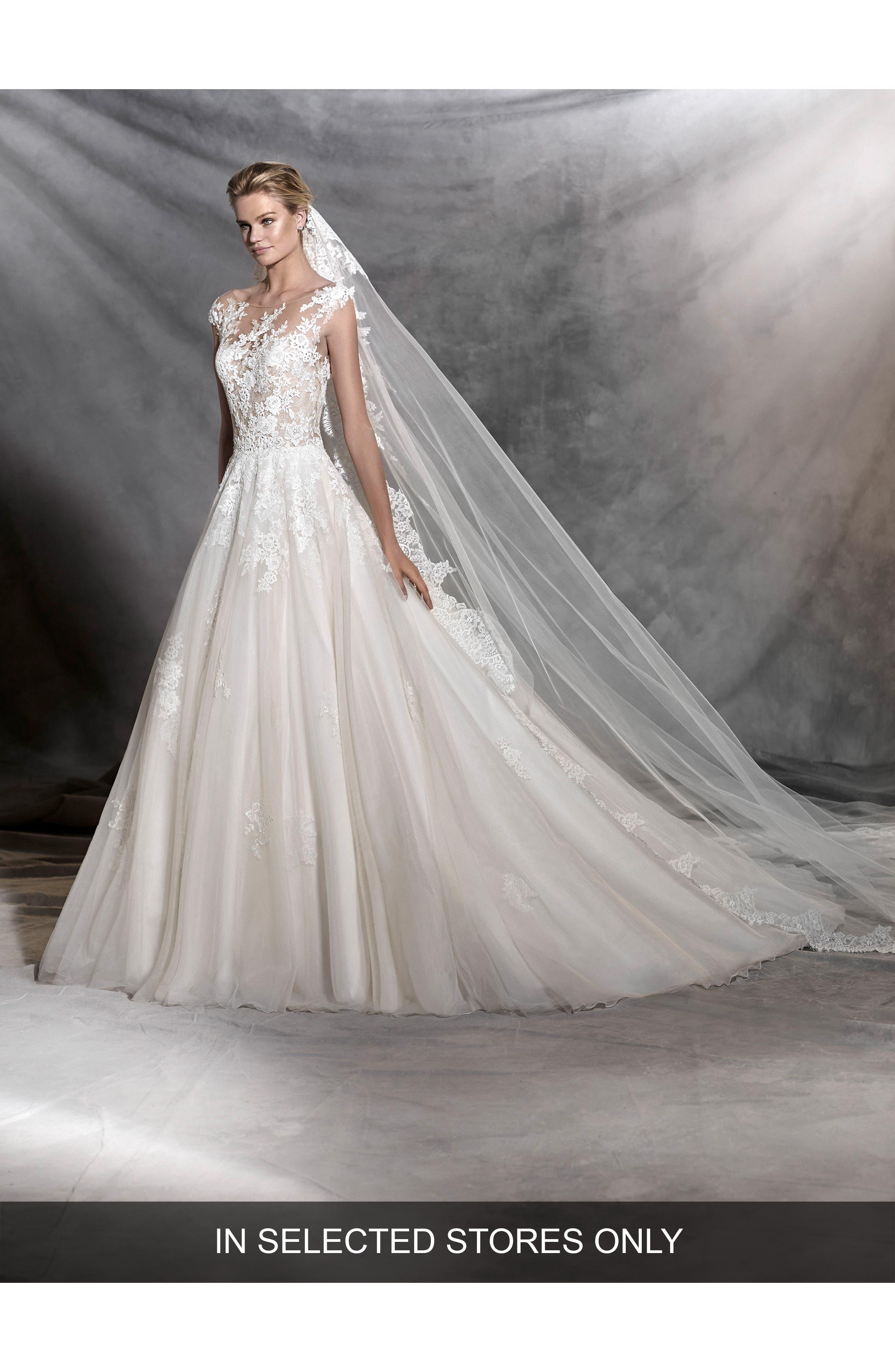 Pronovias Ofelia Illusion Lace & Tulle Ballgown, Size IN STORE ONLY - Ivory