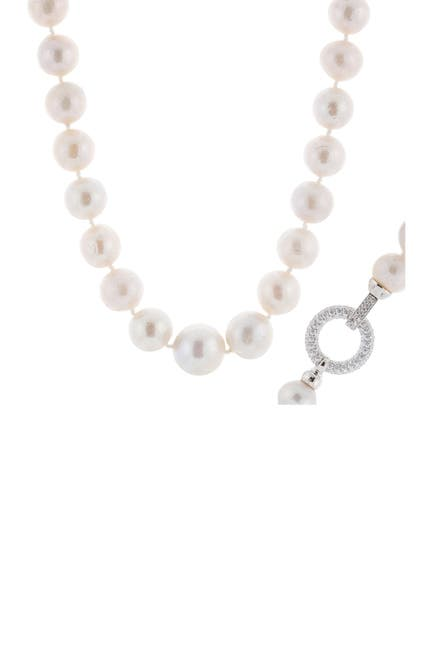 Image of Splendid Pearls Sterling Silver Large 11-14mm White Freshwater Pearl Necklace