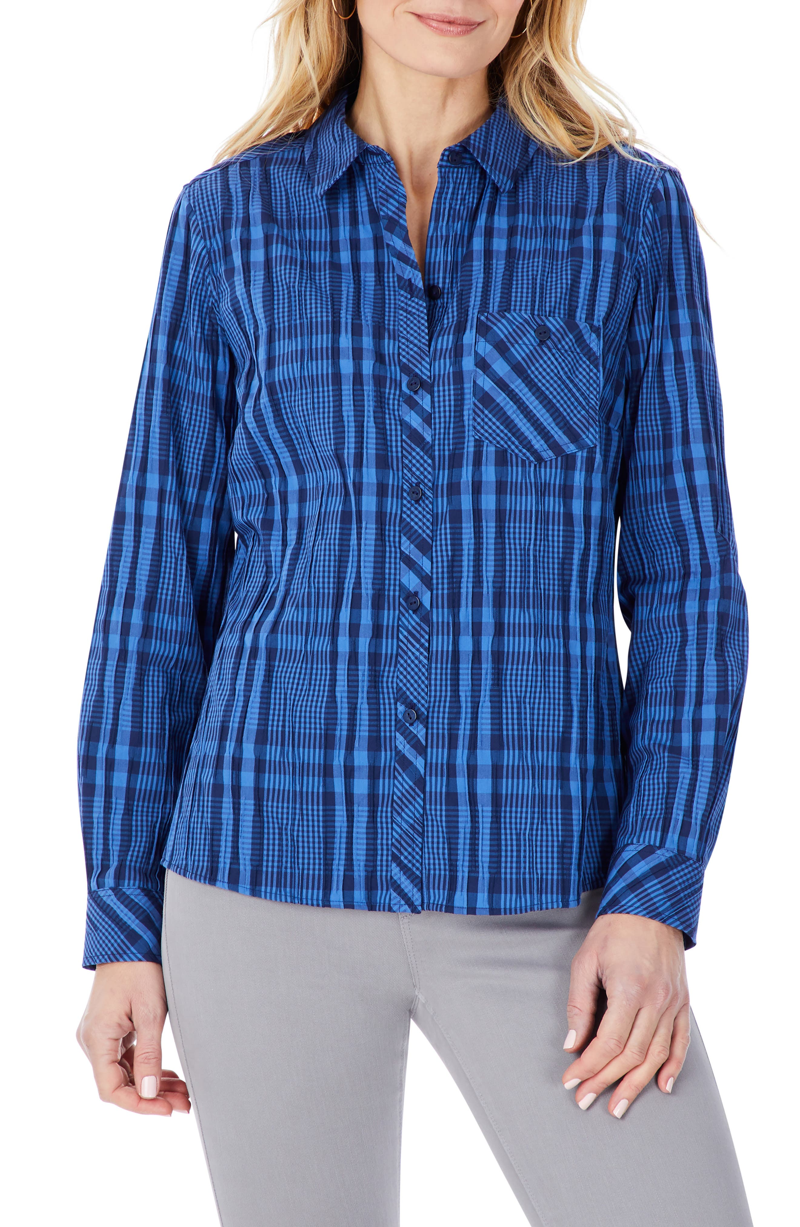 Hampton Crinkle Tonal Plaid Shirt