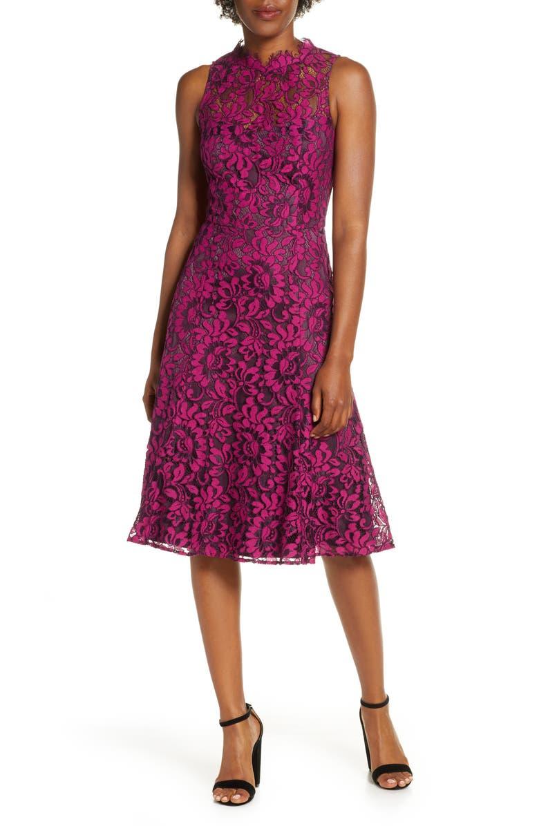 ELIZA J Floral Lace Fit & Flare Dress, Main, color, PLUM