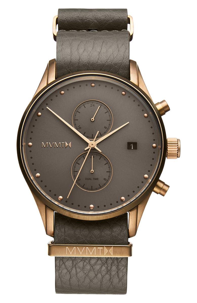 MVMT Voyager Mesh Strap Watch, 42mm, Main, color, GREY/ ROSE GOLD