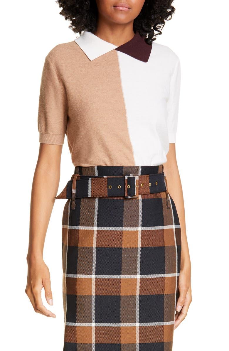 STAUD Acorn Colorblock Cotton & Merino Wool Blend Sweater, Main, color, MOCHA MULTI