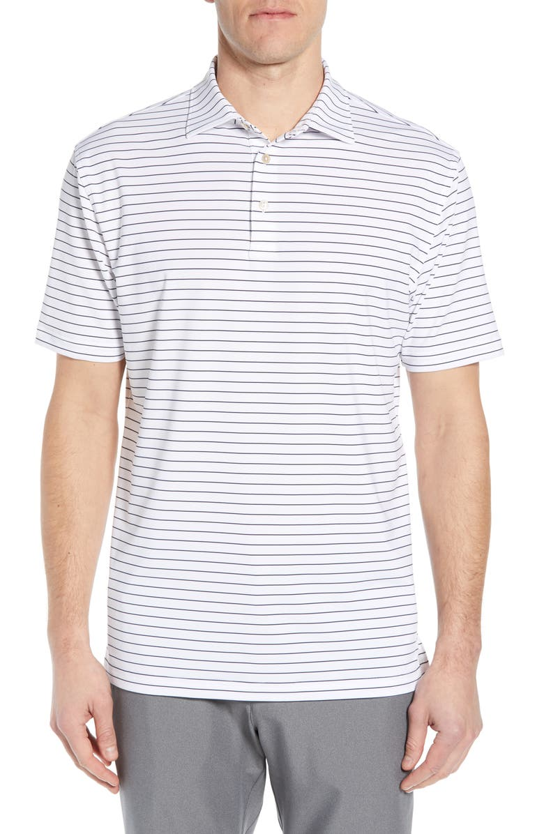 PETER MILLAR Halifax Pinstripe Regular Fit Stretch Jersey Polo, Main, color, WHITE/NAVY