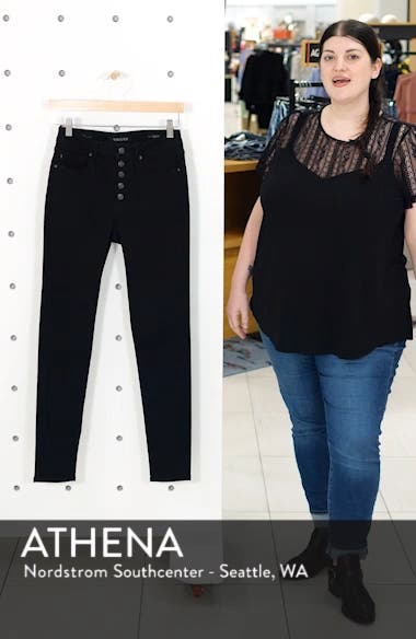 Ace Button Fly High Waist Skinny Jeans, sales video thumbnail