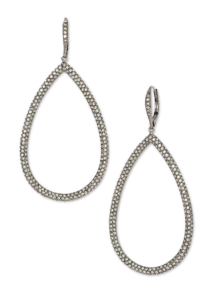 NADRI Pavé Open Teardrop Earrings, Main, color, 001