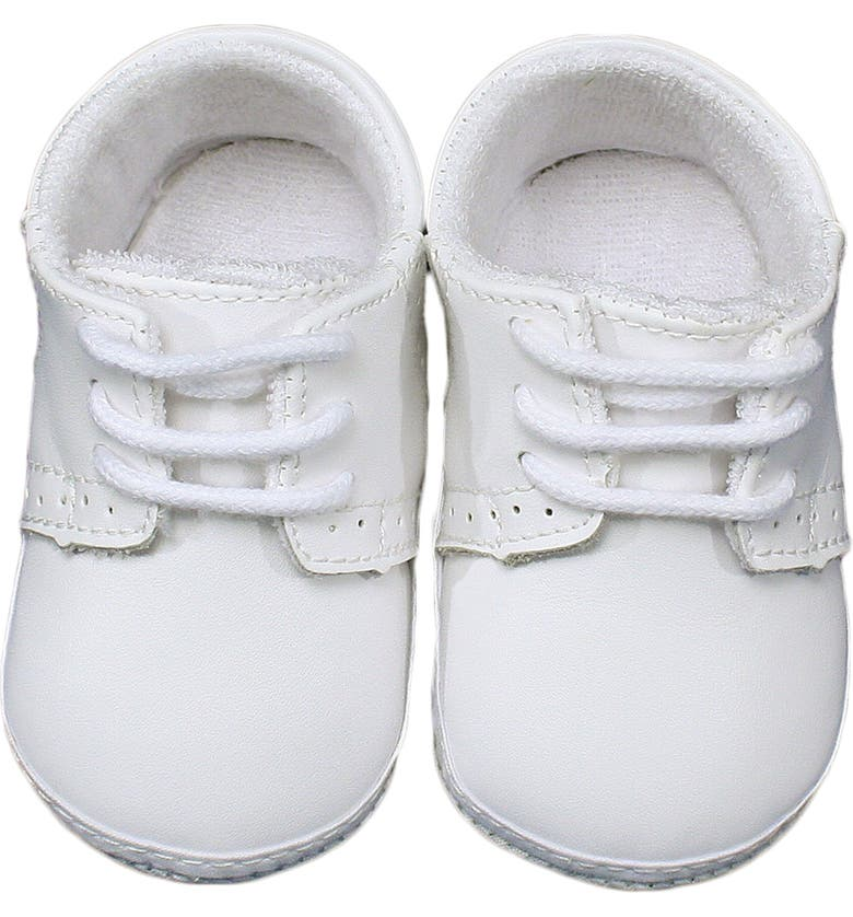 LITTLE THINGS MEAN A LOT Leather Crib Shoe, Main, color, WHITE