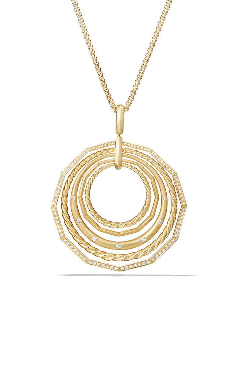 DAVID YURMAN Stax Long Pendant 18K Necklace with Diamonds, 41mm, Main, color, YELLOW GOLD