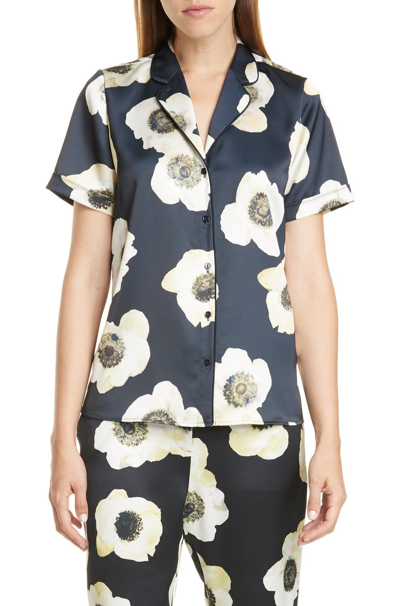 HUGO Eneria Satin Pajama Top, Main, color, ANEMONE PRINT