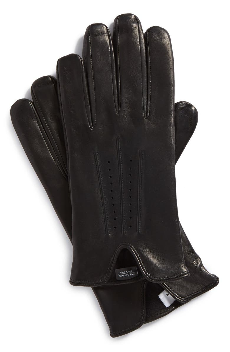 NORDSTROM MEN'S SHOP Perforated Leather Gloves, Main, color, 001