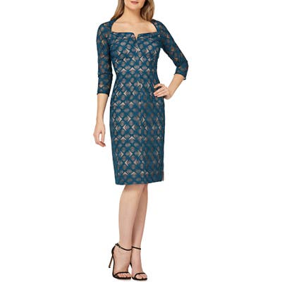 Kay Unger Geometric Embroidered Cocktail Sheath, Blue/green