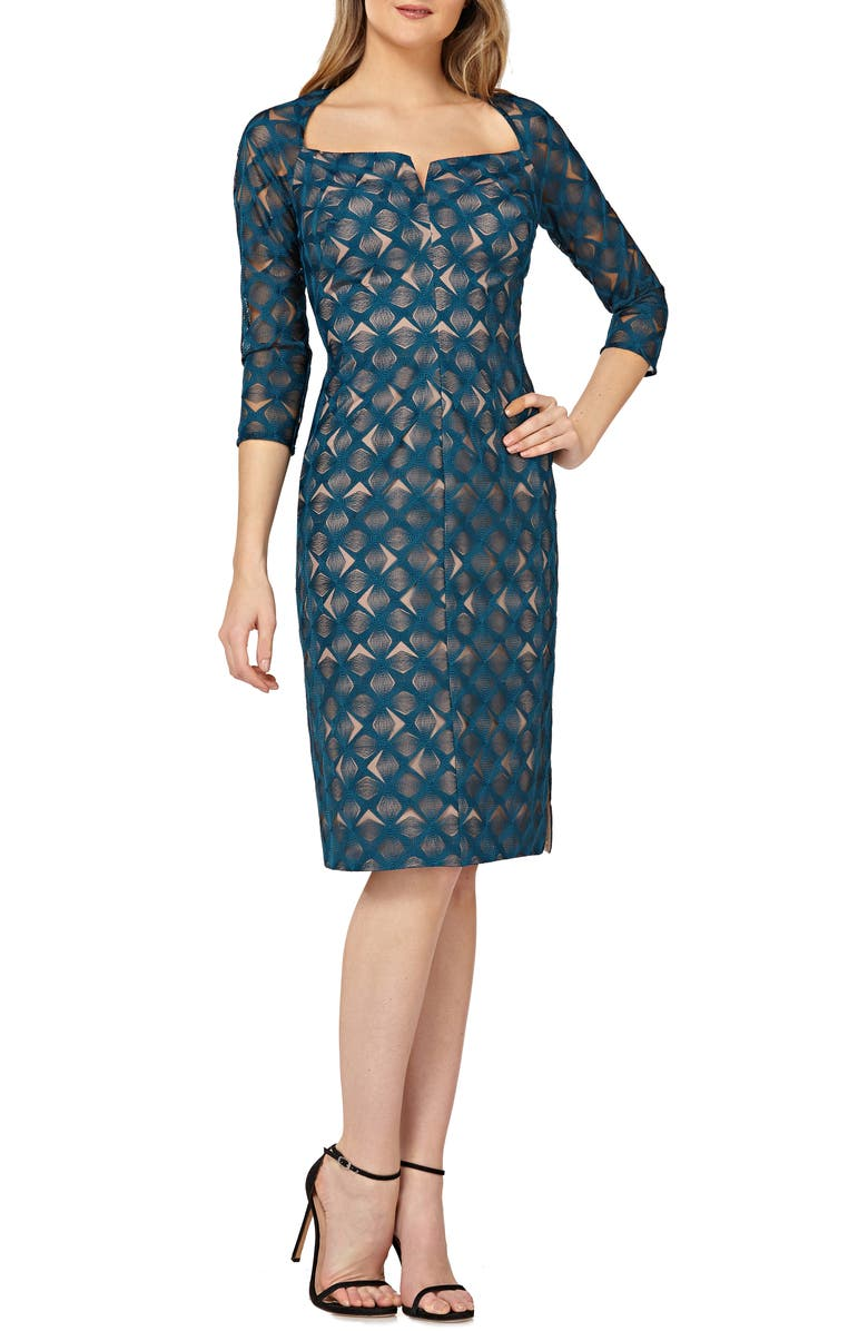 KAY UNGER Geometric Embroidered Cocktail Sheath, Main, color, TEAL