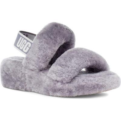 UGG Oh Yeah Genuine Shearling Slingback Slipper, Grey