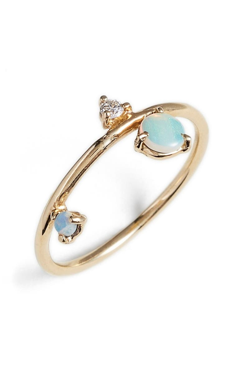 WWAKE Counting Collection Three-Step Balloon Opal & Diamond Ring, Main, color, YELLOW GOLD