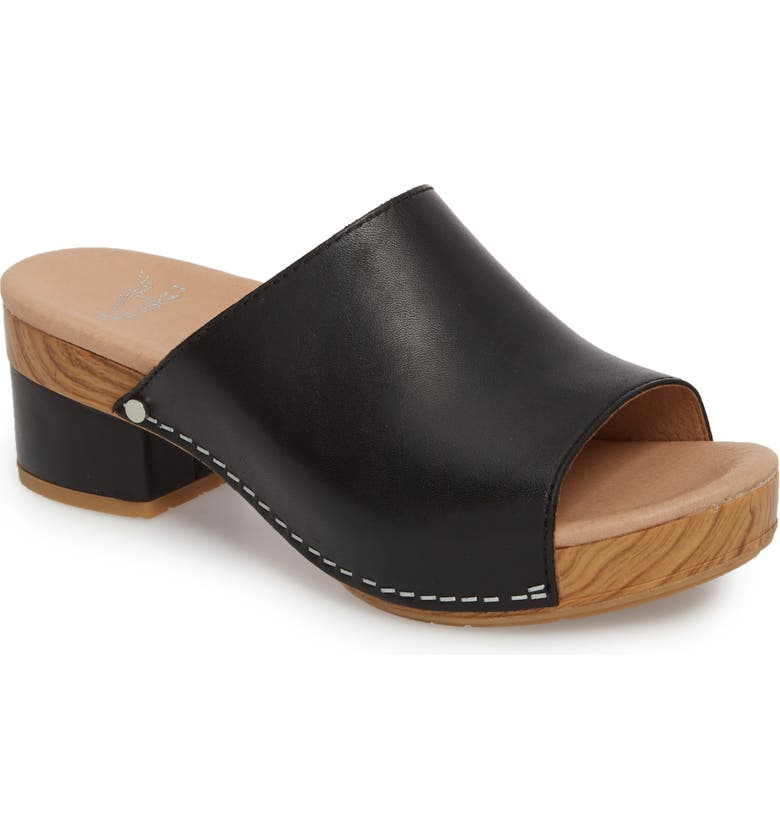 DANSKO Maci Mule Sandal, Main, color, BLACK LEATHER