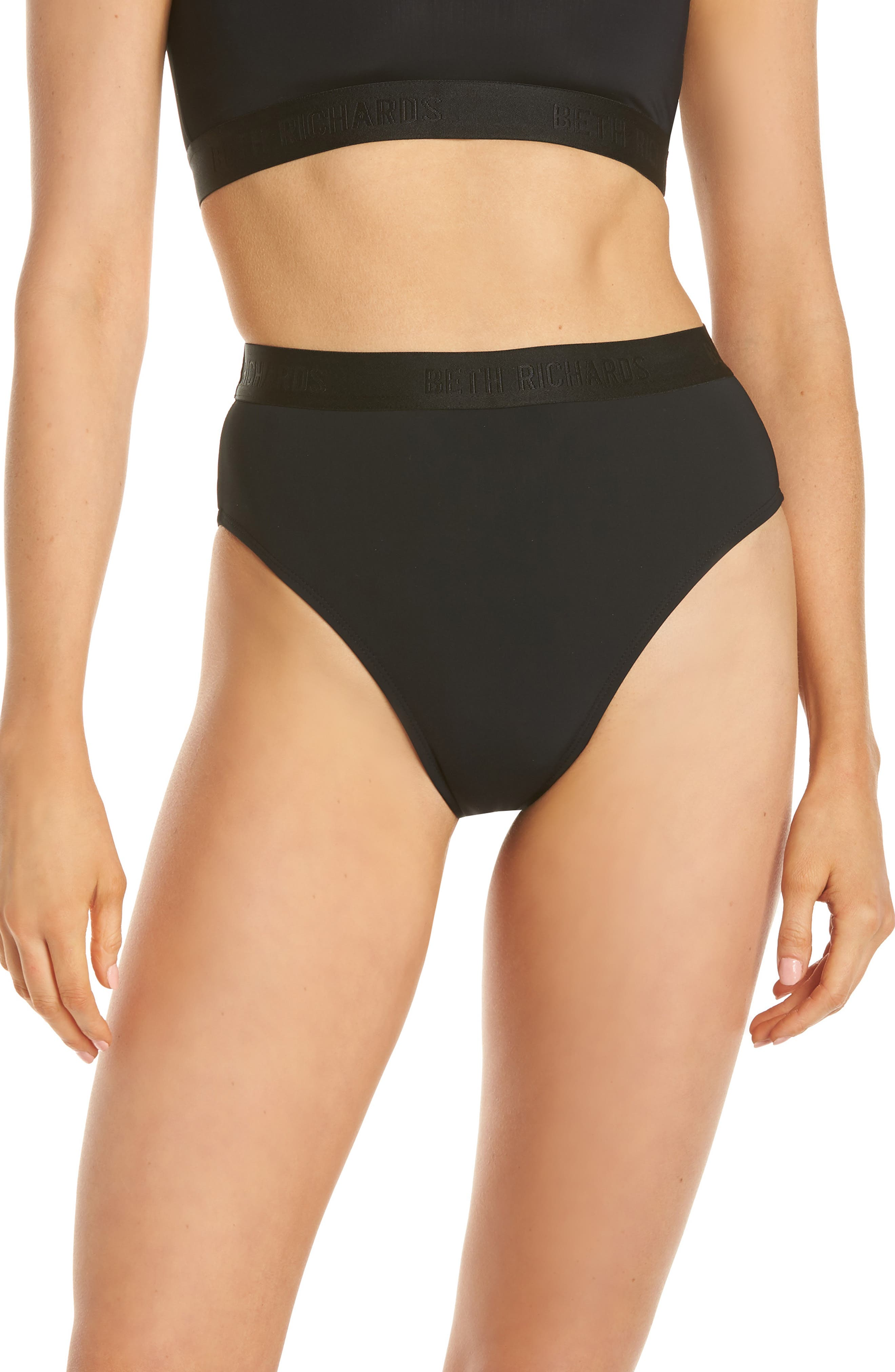 Beth Richards Kim High Waist Bikini Bottoms, Black