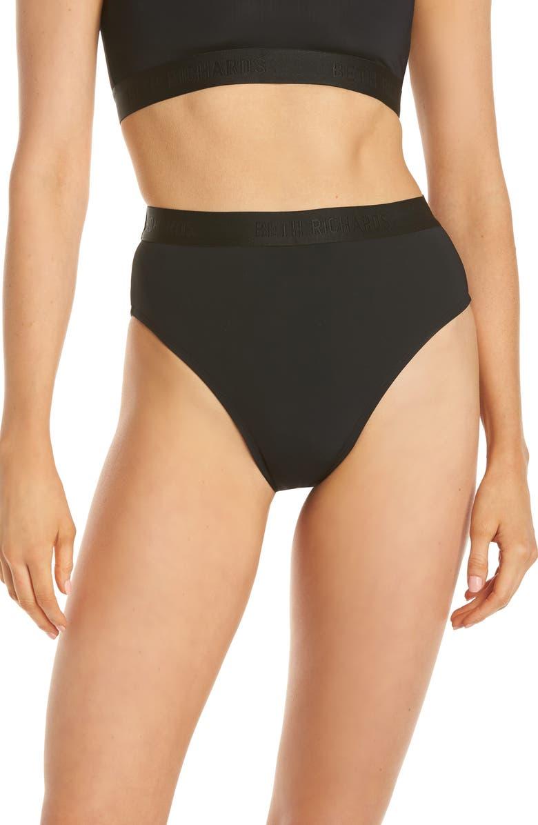 BETH RICHARDS Kim High Waist Bikini Bottoms, Main, color, BLACK