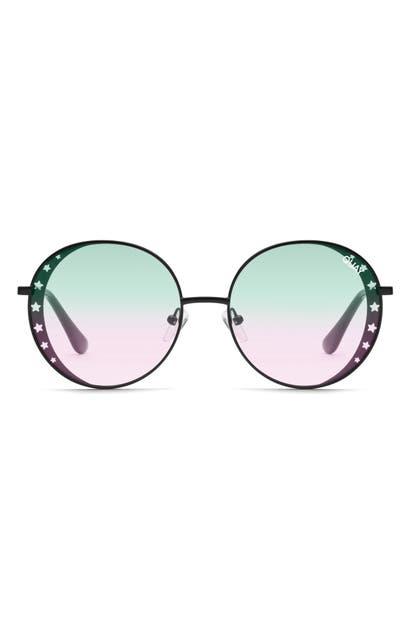 Quay X Lizzo Seeing Stars 54mm Round Sunglasses In Black/ Smoke Gradient