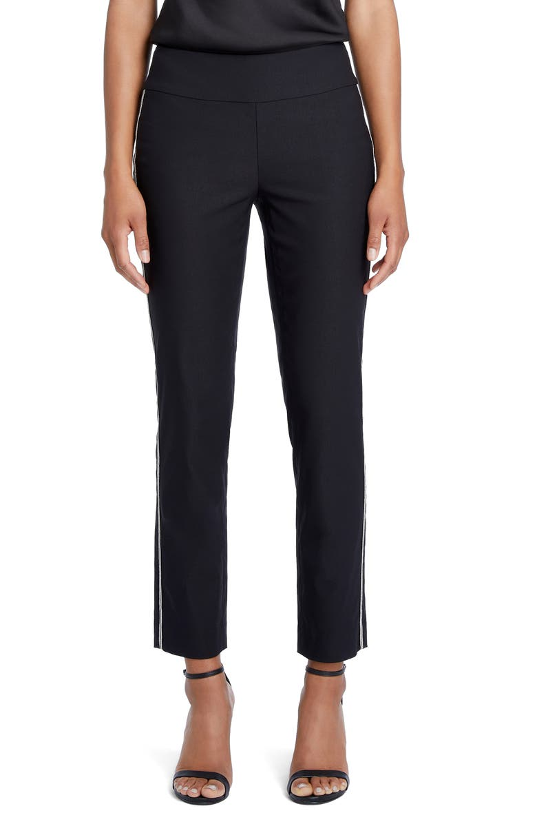 NIC+ZOE Wonderstretch Chain Trim Slim-Leg Pants, Main, color, BLACK ONYX