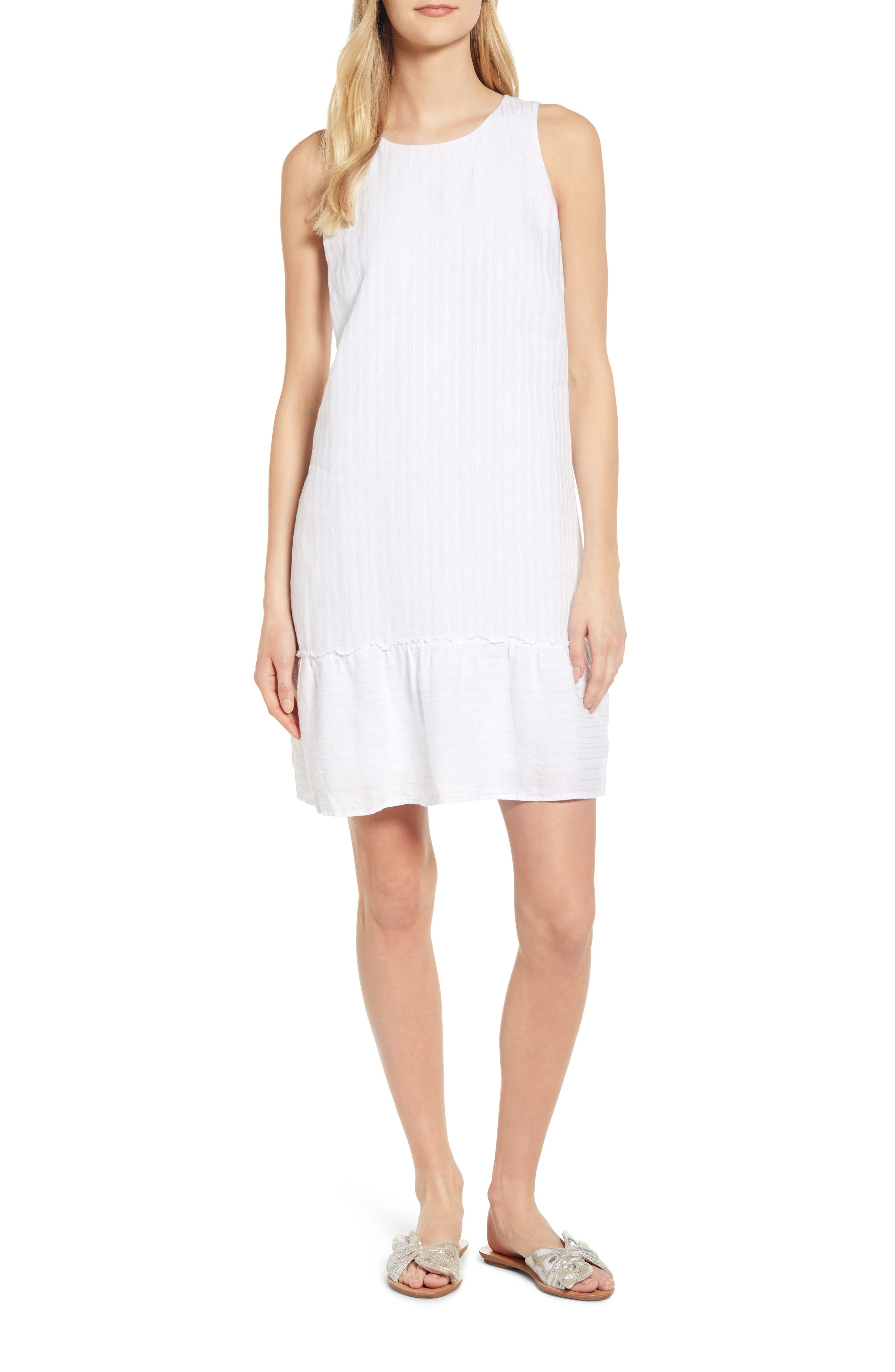 Tommy Bahama Porte Fino Sleeveless Linen Blend Shift Dress, White