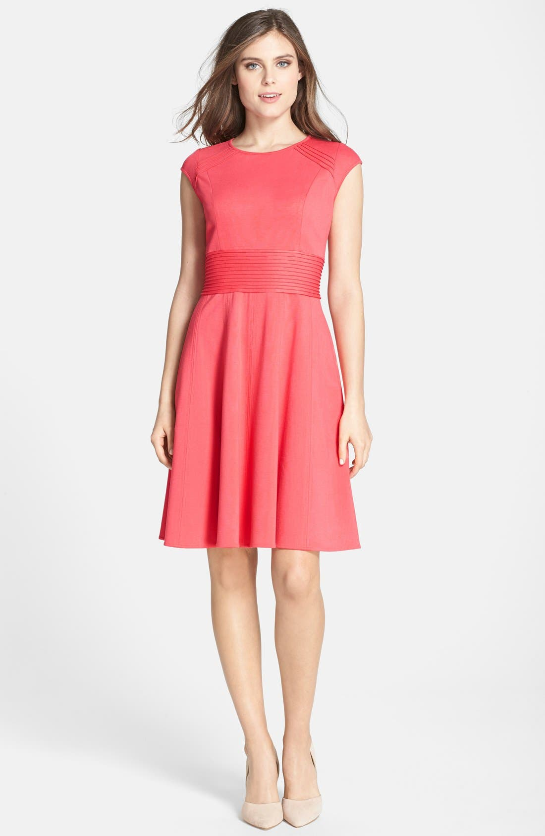 ,                             Pintucked Waist Seamed Ponte Knit Fit & Flare Dress,                             Alternate thumbnail 10, color,                             950