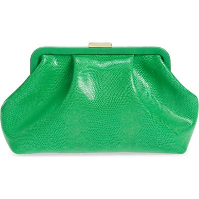 Clare V. Sissy Reptile Embossed Leather Clutch - Green