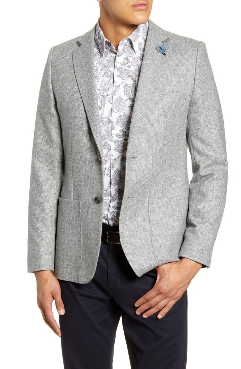 TED BAKER LONDON Athlead Slim Fit Herringbone Wool Blend Sport Coat, Main, color, LIGHT GREY