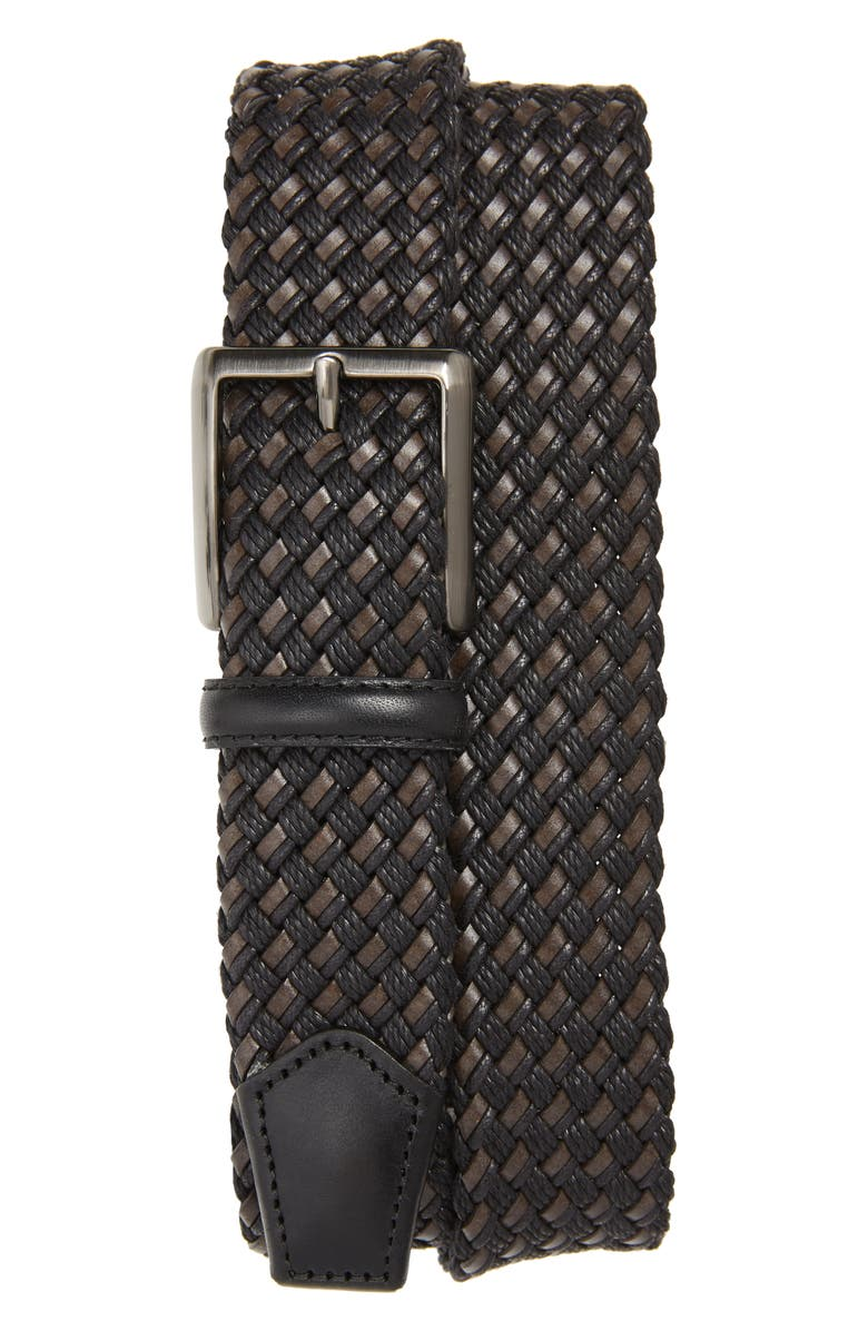 CANALI Woven Leather Belt, Main, color, BLACK