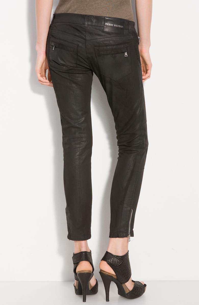 PIERRE BALMAIN Waxed Cotton Stretch Pants, Main, color, 001