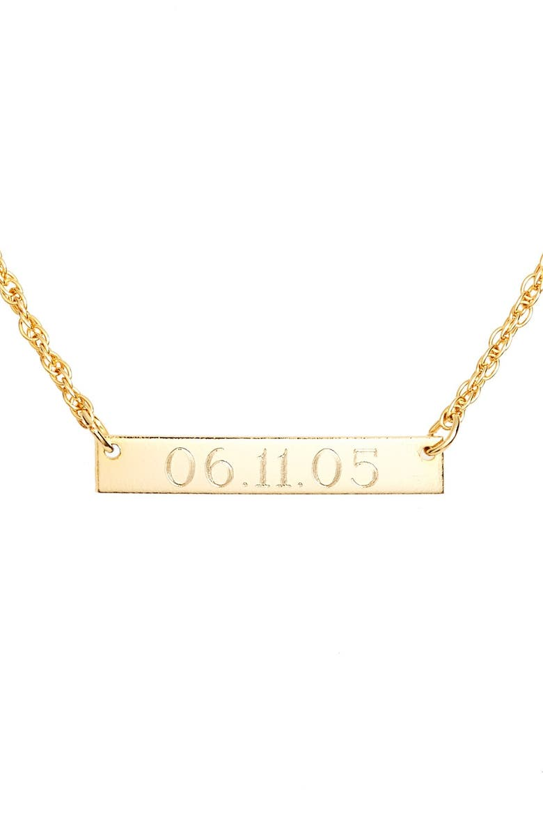 MOON AND LOLA 'Block Font' Personalized Bar Pendant Necklace, Main, color, 710