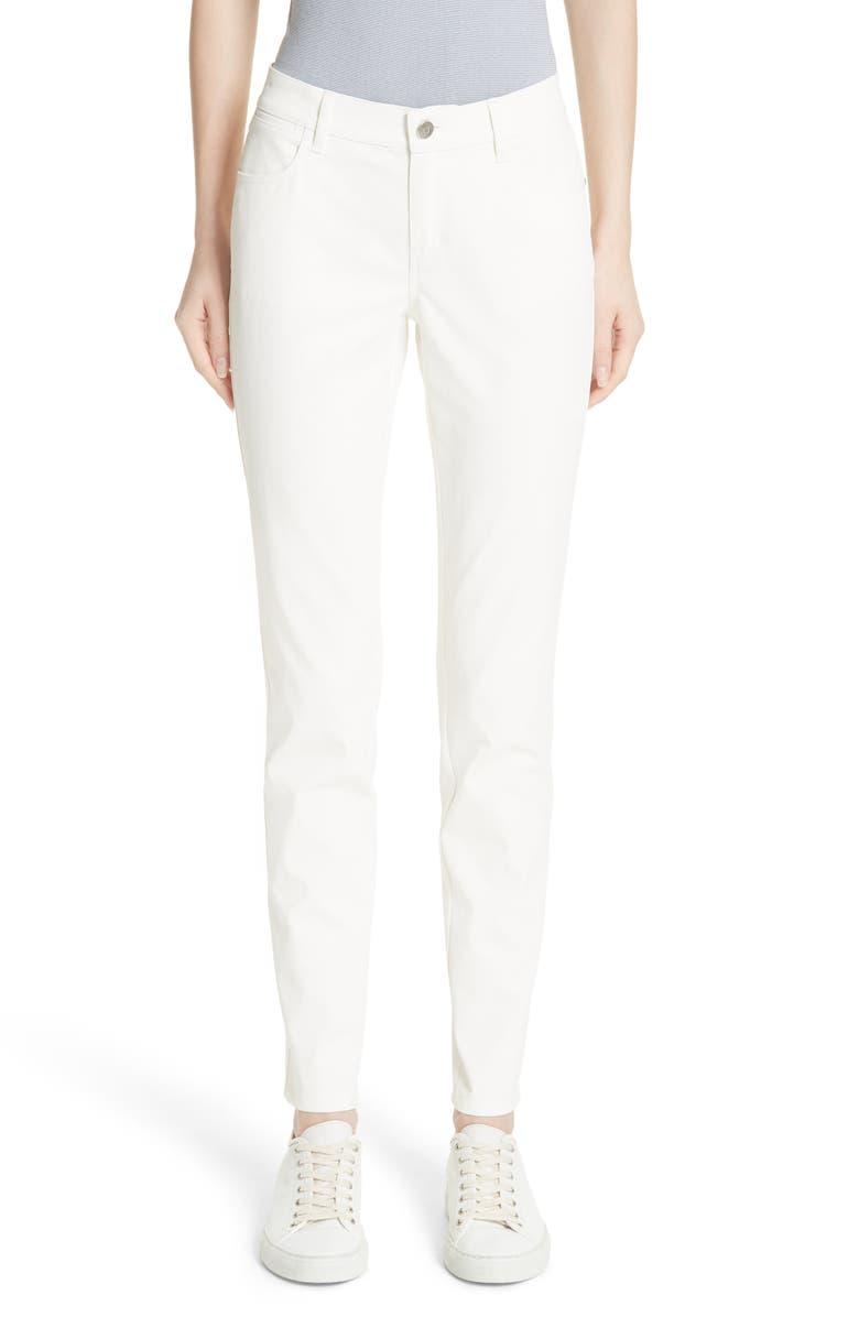 LAFAYETTE 148 NEW YORK Mercer Coated Skinny Jeans, Main, color, WHITE
