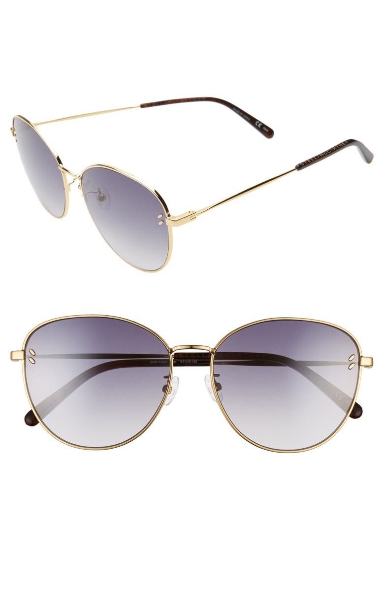 STELLA MCCARTNEY 61mm Sunglasses, Main, color, GOLD/ GREY