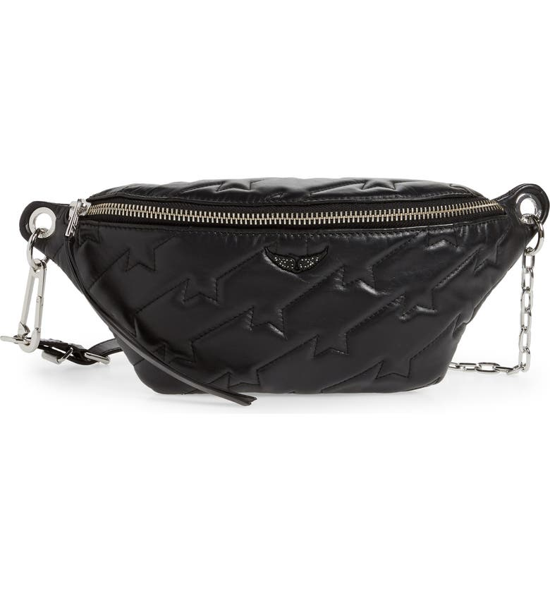 ZADIG & VOLTAIRE Edie Quilted Leather Belt Bag, Main, color, NOIR
