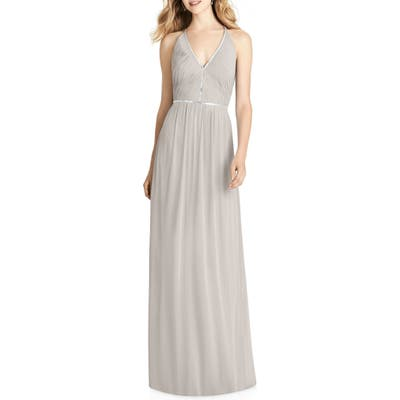 Jenny Packham Pleated Bodice Chiffon Gown, Beige