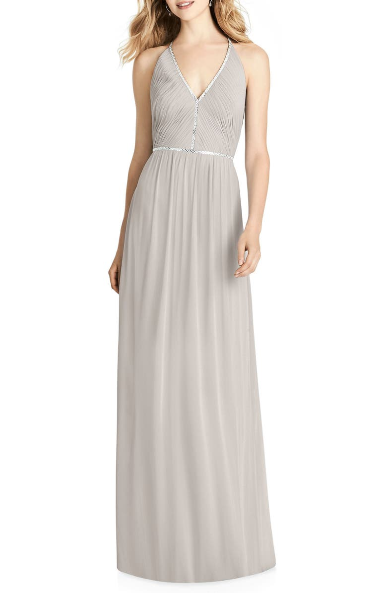 JENNY PACKHAM Pleated Bodice Chiffon Gown, Main, color, OYSTER