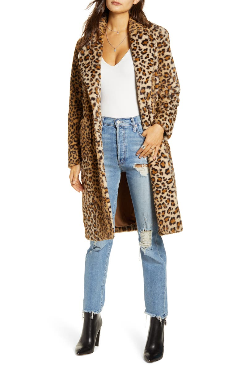 MURAL Faux Fur Leopard Coat, Main, color, LEOPARD