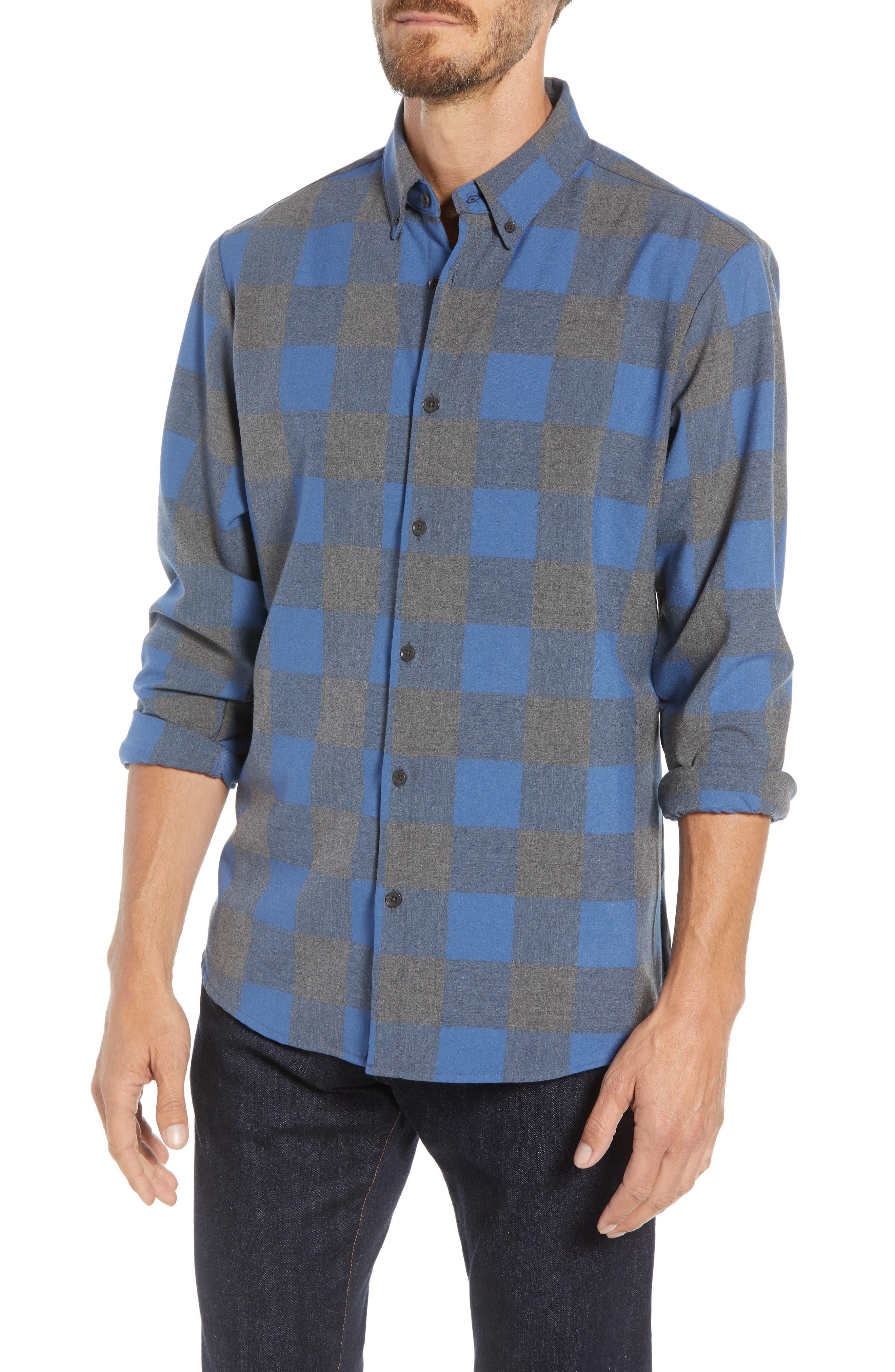 Mizzen+Main Sierra Trim Fit Flannel Sport Shirt, Grey