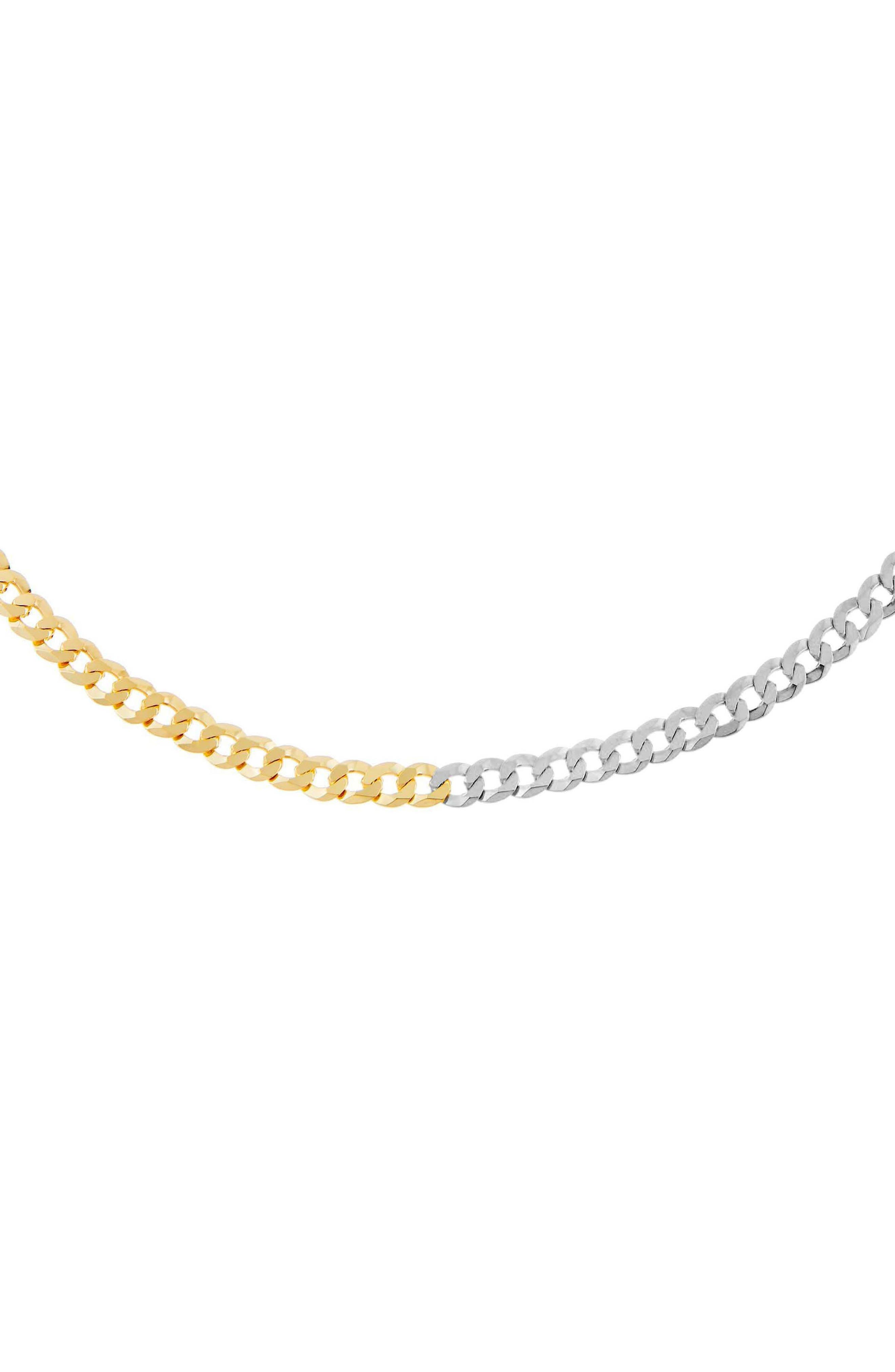 Women's Adina's Jewels Two-Tone Flat Curb Chain Necklace