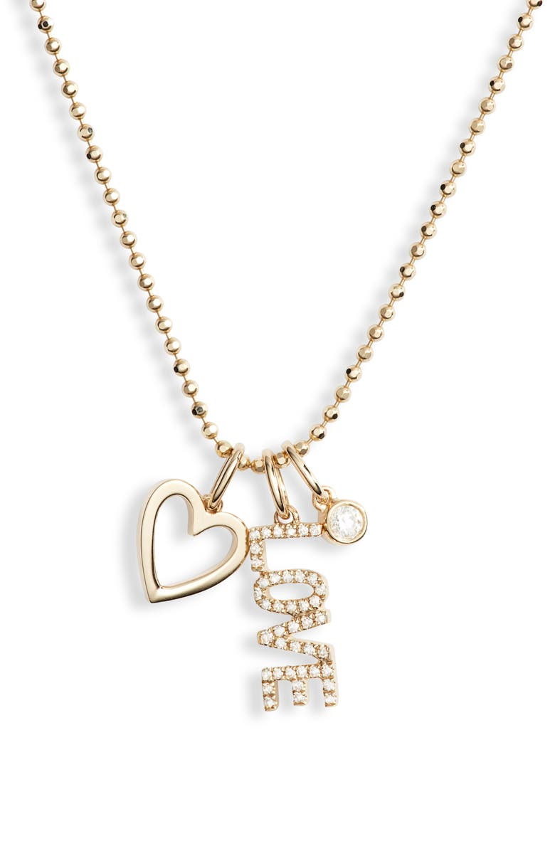 EF COLLECTION Diamond Love Charm Necklace, Main, color, 710