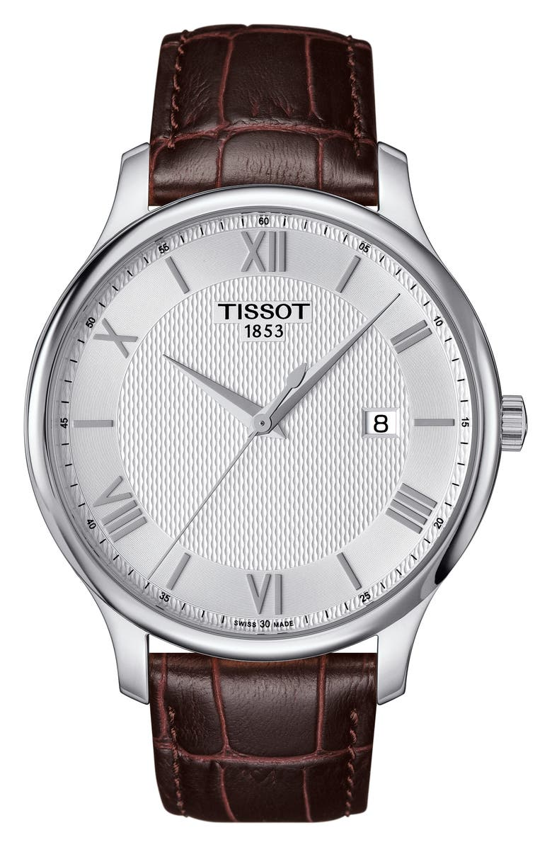 TISSOT Tradition Leather Strap Watch, 42mm, Main, color, BROWN/ SILVER