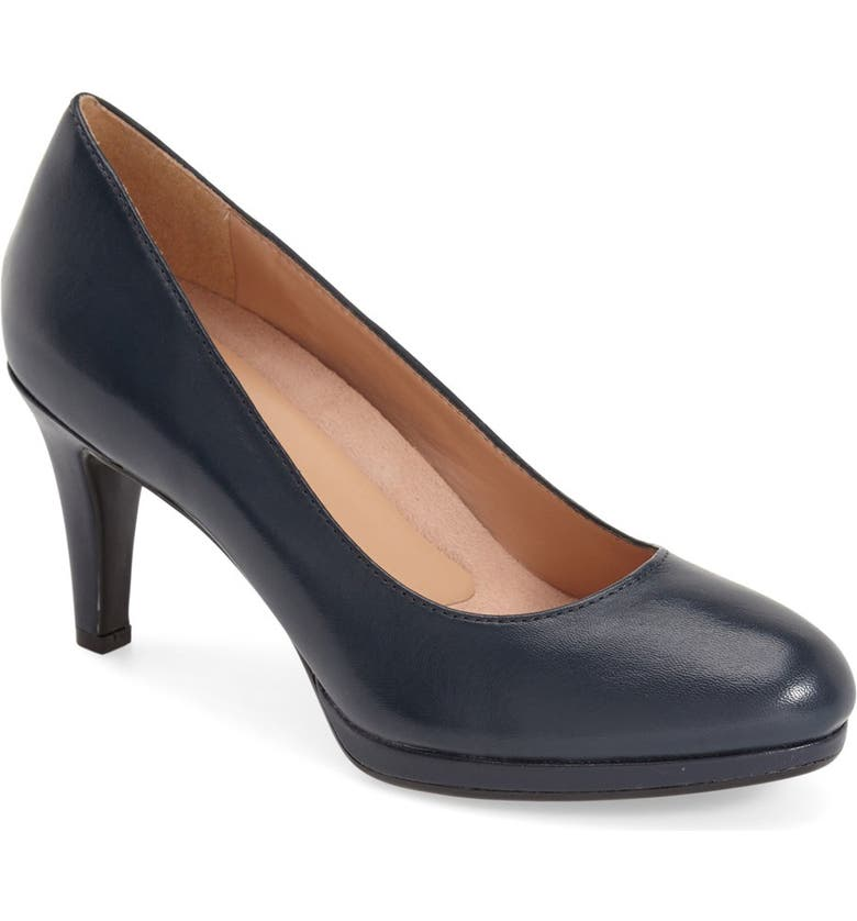 NATURALIZER 'Michelle' Almond Toe Pump, Main, color, NAVY LEATHER