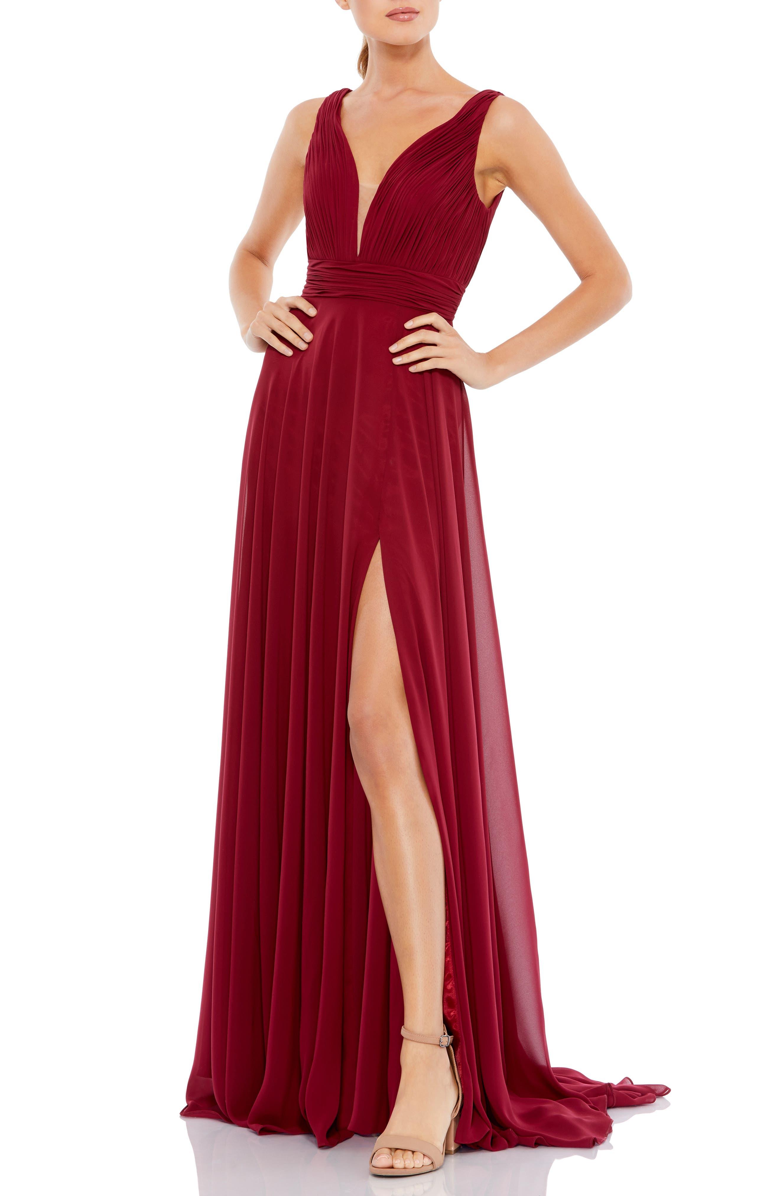 Plunge Neck Side Slit Chiffon A-Line Gown